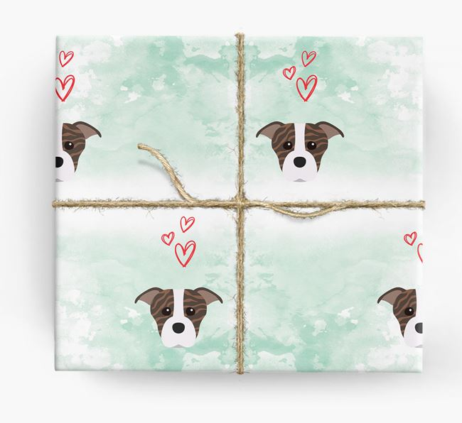 Staffie Icons & Hearts Wrapping Paper