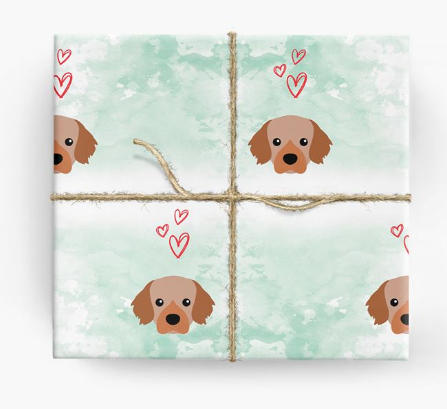 Tibetan Spaniel Icons & Hearts Wrapping Paper