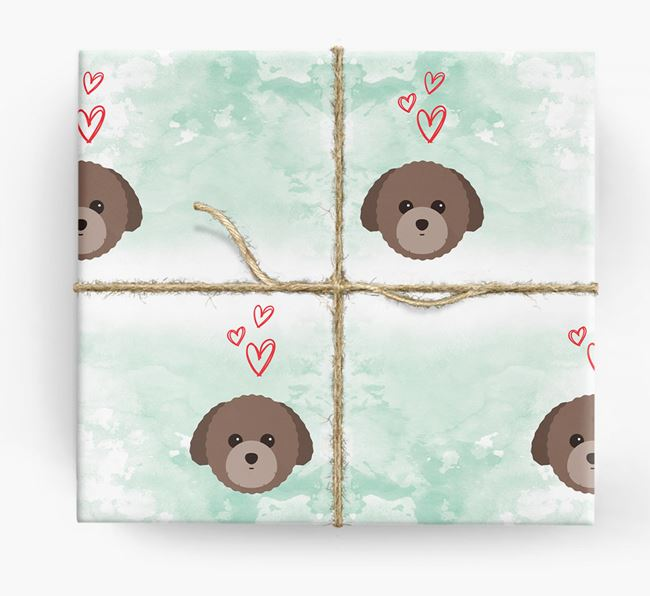 Toy Poodle Icons & Hearts Wrapping Paper