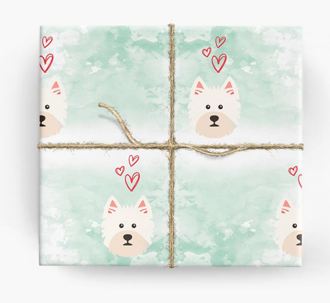 Westie Icons & Hearts Wrapping Paper