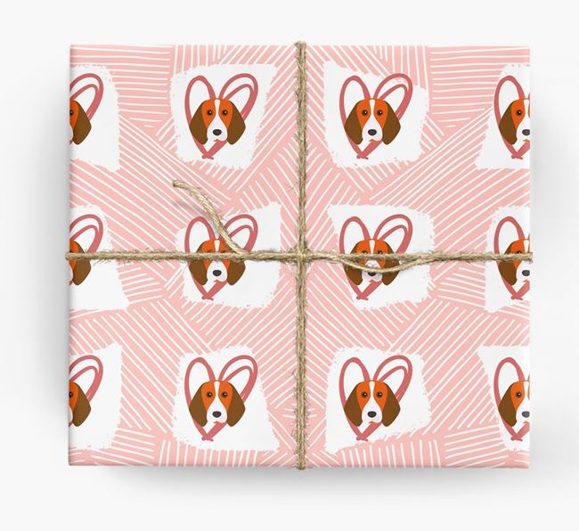 Beagle Icons, Lines & Hearts Wrapping Paper
