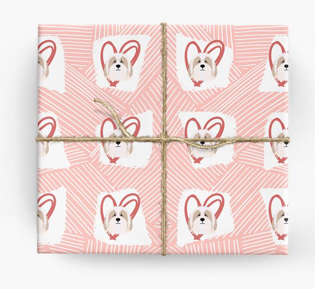Bearded Collie Icons, Lines & Hearts Wrapping Paper