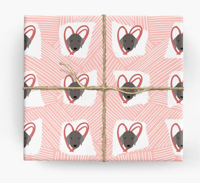 Bedlington Icons, Lines & Hearts Wrapping Paper
