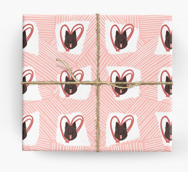 Belgian Shepherd Icons, Lines & Hearts Wrapping Paper