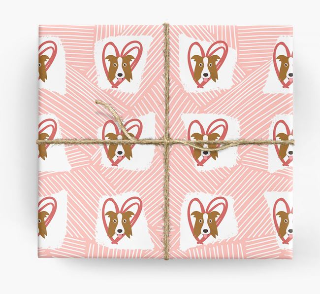 Border Collie Icons, Lines & Hearts Wrapping Paper