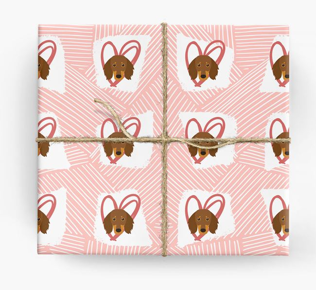Dachshund Icons, Lines & Hearts Wrapping Paper