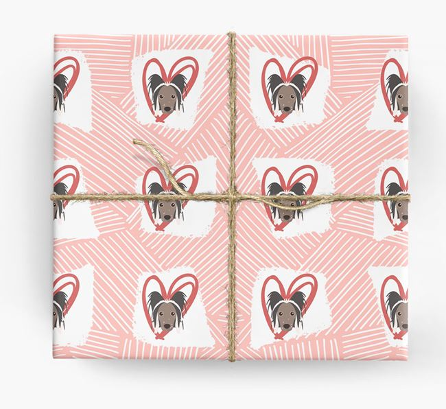 Chinese Crested Icons, Lines & Hearts Wrapping Paper