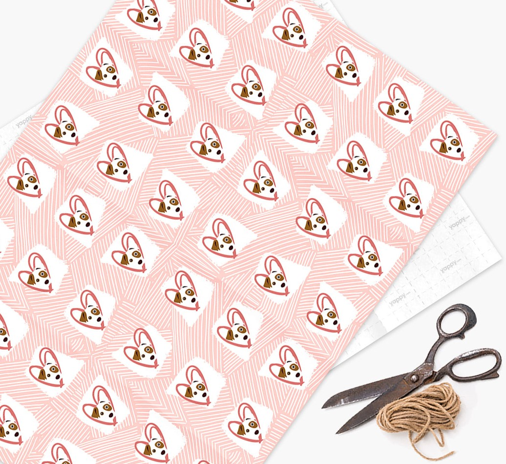 Wrapping Paper with Dog icons, lines & hearts on a watercolour background