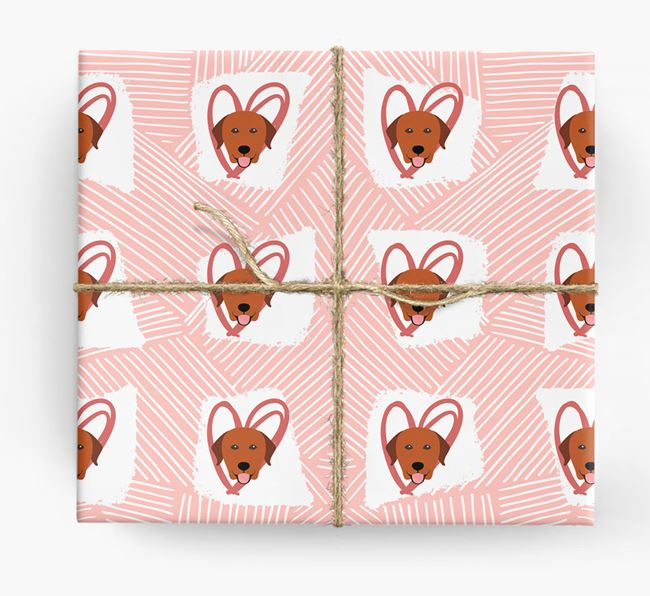 Labrador Icons, Lines & Hearts Wrapping Paper
