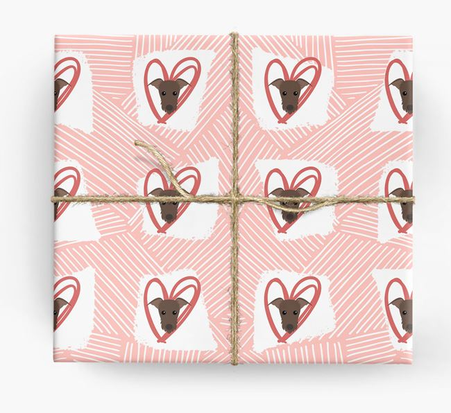 Lurcher Icons, Lines & Hearts Wrapping Paper
