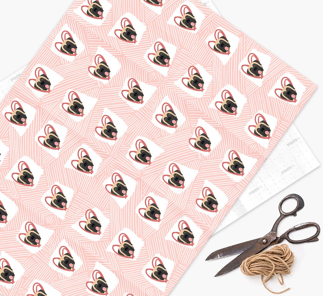 Wrapping Paper with Mastiff icons, lines & hearts on a watercolour background