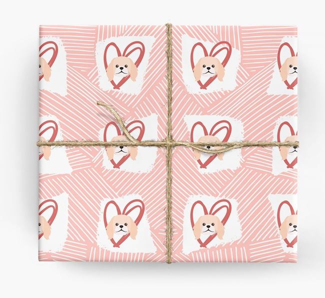 Pekingese Icons, Lines & Hearts Wrapping Paper