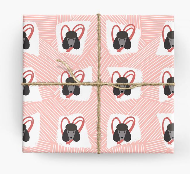 Poodle Icons, Lines & Hearts Wrapping Paper