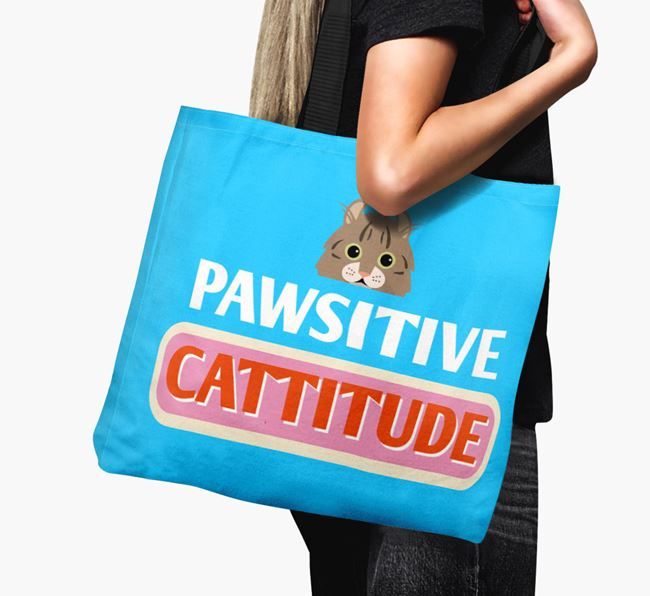 'Pawsitive Catitude' - Personalised Cat Canvas Bag