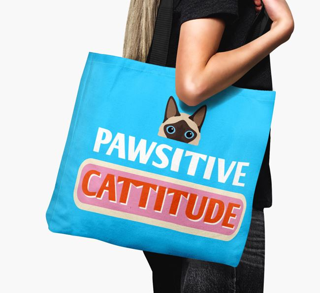 'Pawsitive Catitude' - Personalized Balinese Canvas Bag