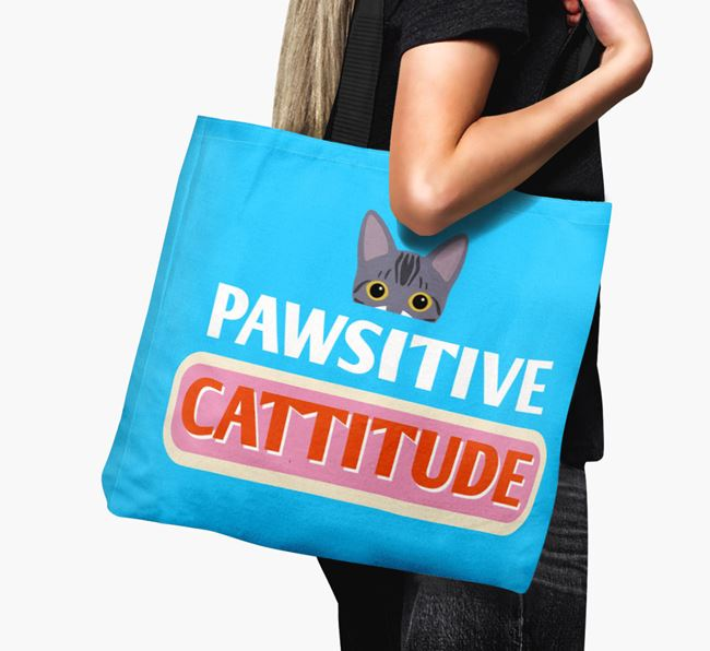 'Pawsitive Catitude' - Personalized Bengal Canvas Bag