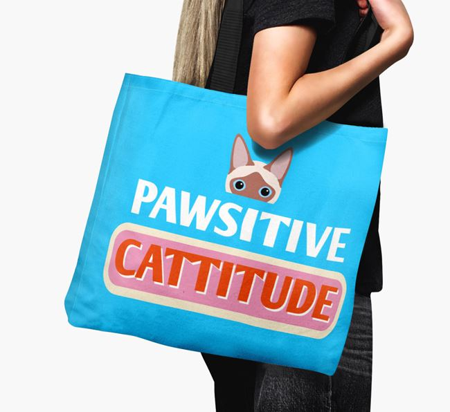 'Pawsitive Catitude' - Personalized Siamese Canvas Bag