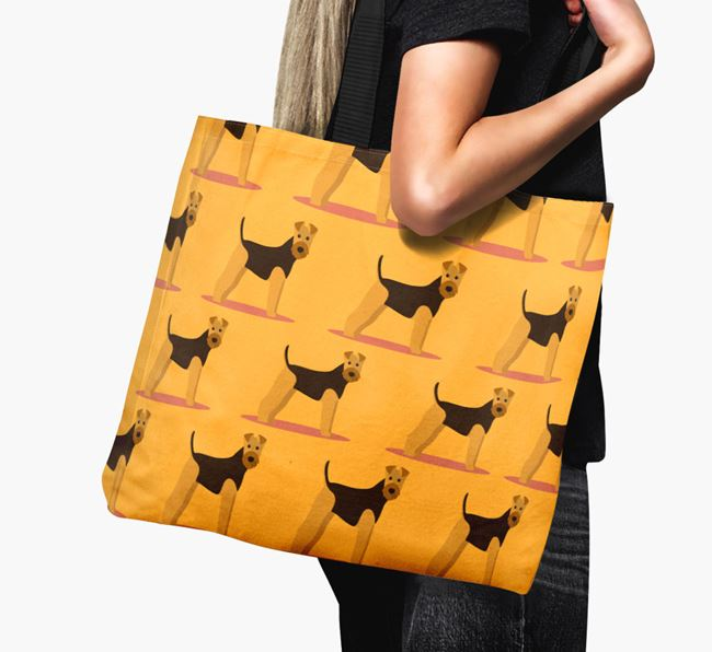 'Yappicon Profile Pattern' - Personalised Airedale Terrier Canvas Bag