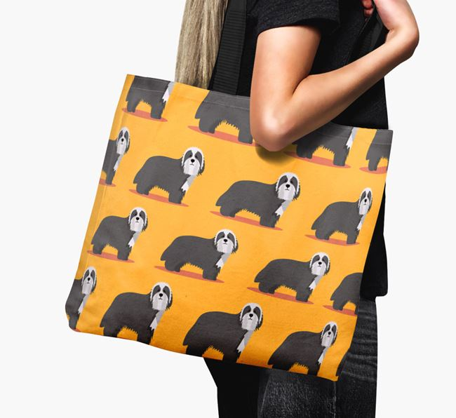 'Yappicon Profile Pattern' - Personalised Bearded Collie Canvas Bag