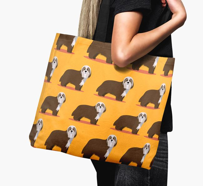 'Yappicon Profile Pattern' - Personalized Bearded Collie Canvas Bag
