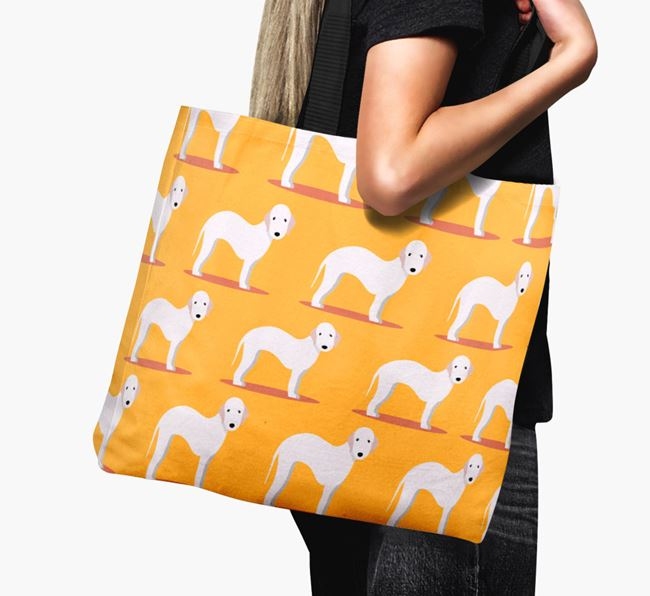 'Yappicon Profile Pattern' - Personalised Bedlington Terrier Canvas Bag