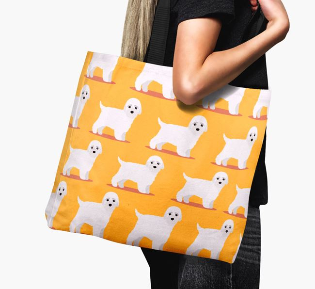 'Yappicon Profile Pattern' - Personalised Bich-poo Canvas Bag