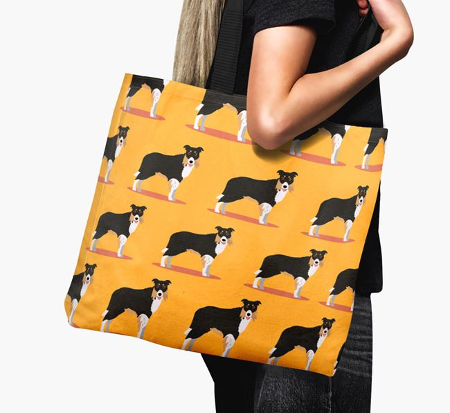 'Yappicon Profile Pattern' - Personalised Border Collie Canvas Bag