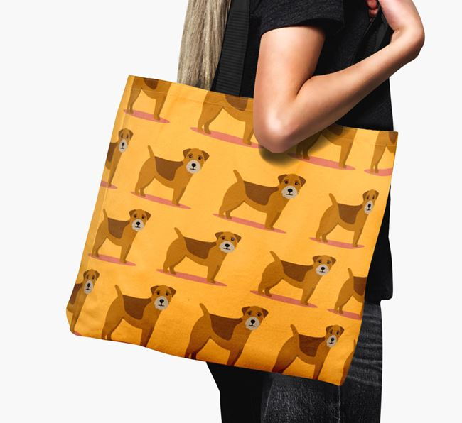 'Yappicon Profile Pattern' - Personalised Border Terrier Canvas Bag