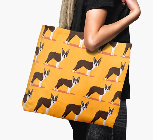 'Yappicon Profile Pattern' - Personalised Boston Terrier Canvas Bag