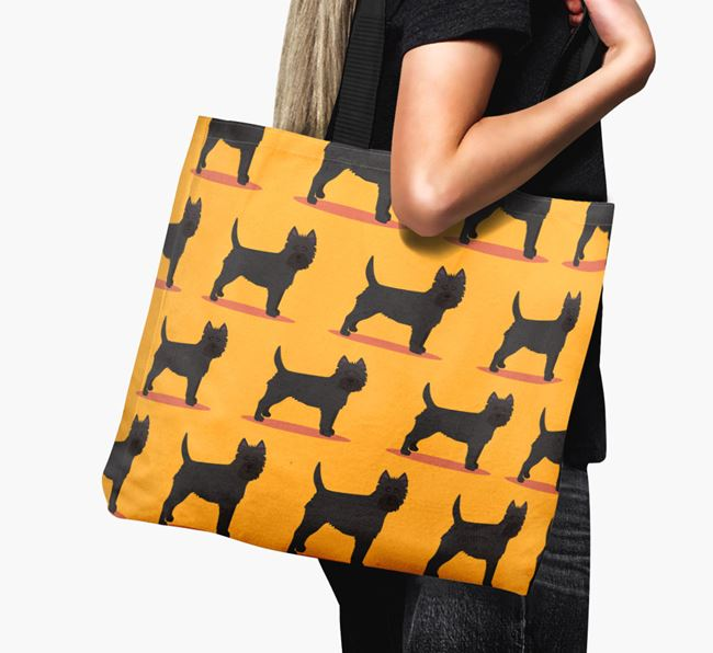 'Yappicon Profile Pattern' - Personalised Cairn Terrier Canvas Bag