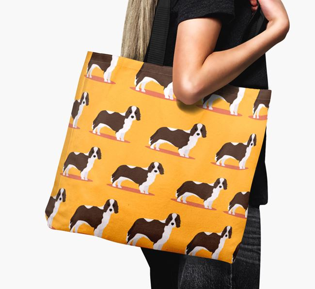 'Yappicon Profile Pattern' - Personalised Cavalier King Charles Spaniel Canvas Bag