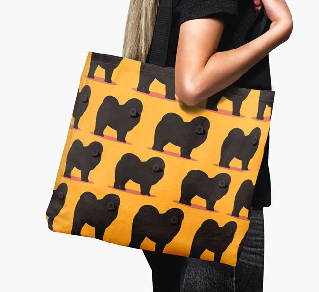 'Yappicon Profile Pattern' - Personalised Chow Chow Canvas Bag
