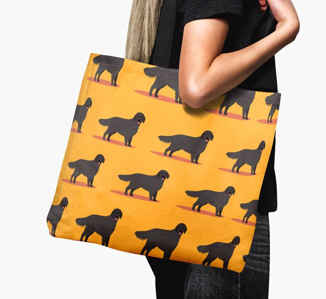 'Yappicon Profile Pattern' - Personalised Flat-Coated Retriever Canvas Bag
