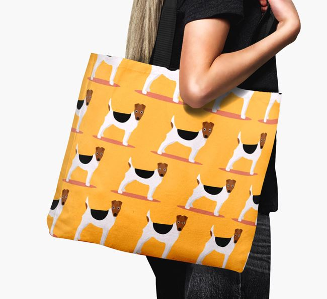 'Yappicon Profile Pattern' - Personalised Fox Terrier Canvas Bag