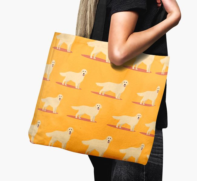 'Yappicon Profile Pattern' - Personalised Golden Retriever Canvas Bag
