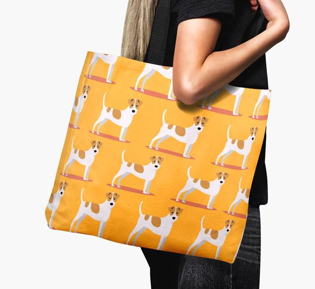 'Yappicon Profile Pattern' - Personalised Jack Russell Terrier Canvas Bag