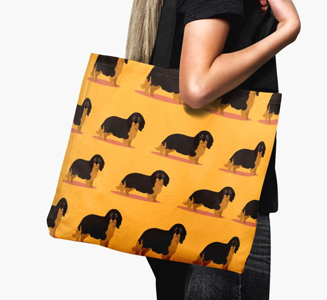 'Yappicon Profile Pattern' - Personalised King Charles Spaniel Canvas Bag