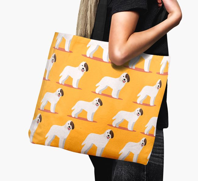 'Yappicon Profile Pattern' - Personalised Labradoodle Canvas Bag