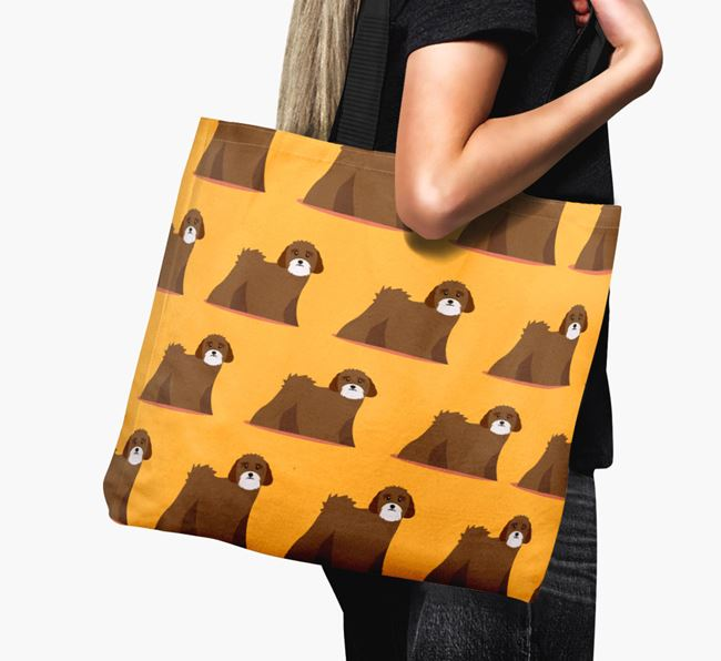 'Yappicon Profile Pattern' - Personalised Lhasa Apso Canvas Bag