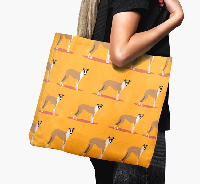 'Yappicon Profile Pattern' - Personalised Lurcher Canvas Bag