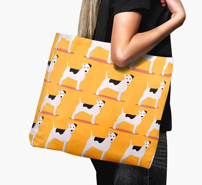 'Yappicon Profile Pattern' - Personalised Parson Russell Terrier Canvas Bag