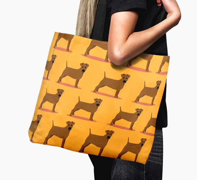 'Yappicon Profile Pattern' - Personalised Patterdale Terrier Canvas Bag