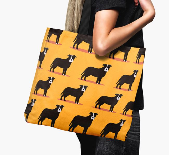 'Yappicon Profile Pattern' - Personalised Staffordshire Bull Terrier Canvas Bag
