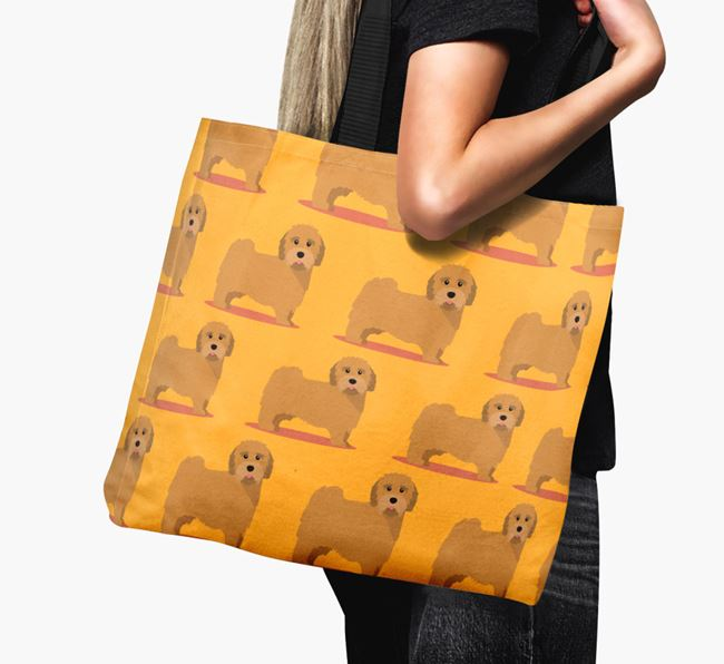 'Yappicon Profile Pattern' - Personalised Tibetan Terrier Canvas Bag