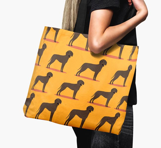 'Yappicon Profile Pattern' - Personalised Weimaraner Canvas Bag