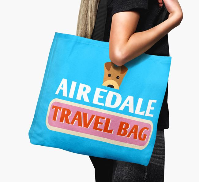 'Airedale Travel Bag' - Personalised Canvas Bag