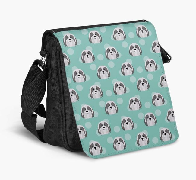 'Yappicon Dot Pattern' - Personalized Bearded Collie Walking Bag
