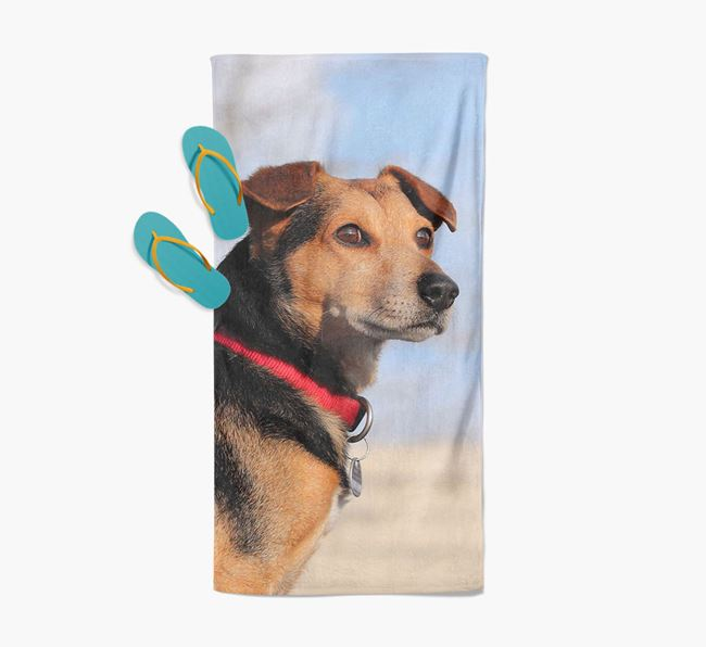 Personalised Photo Upload Beach Towel with your Blue Lacy