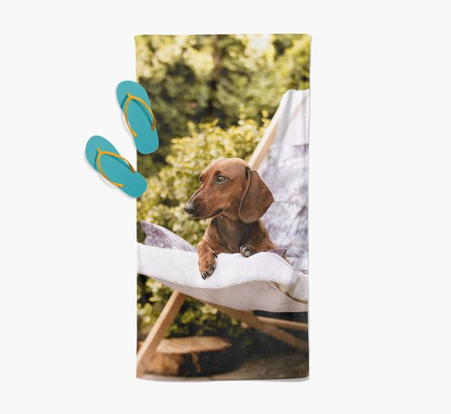 Personalised Photo Upload Beach Towel with your Dachshund