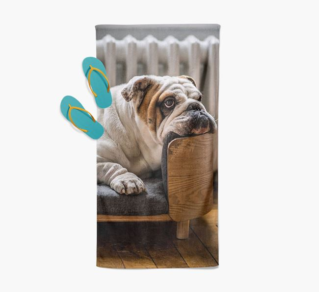 Personalised Photo Upload Beach Towel with your English Bulldog